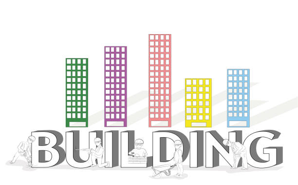 """sketch of working small people with a big word """"building"""". hand-drawn cartoon vector illustration of building design and infographics. - curate stock illustrations"""