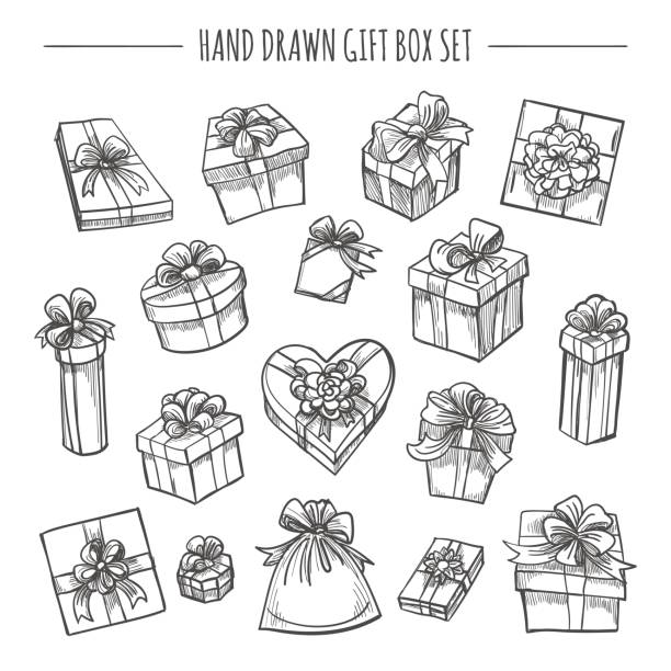 Sketch outline present boxes set Gift box set in hand drawn style. Sketch outline present boxes isolated on white background cartoon of birthday cake outline stock illustrations