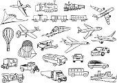 transportation over the world vector set