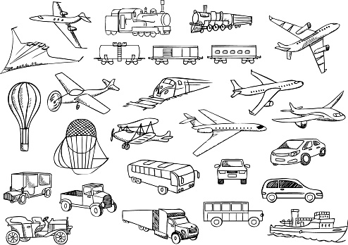A sketch painting of transportation over the world