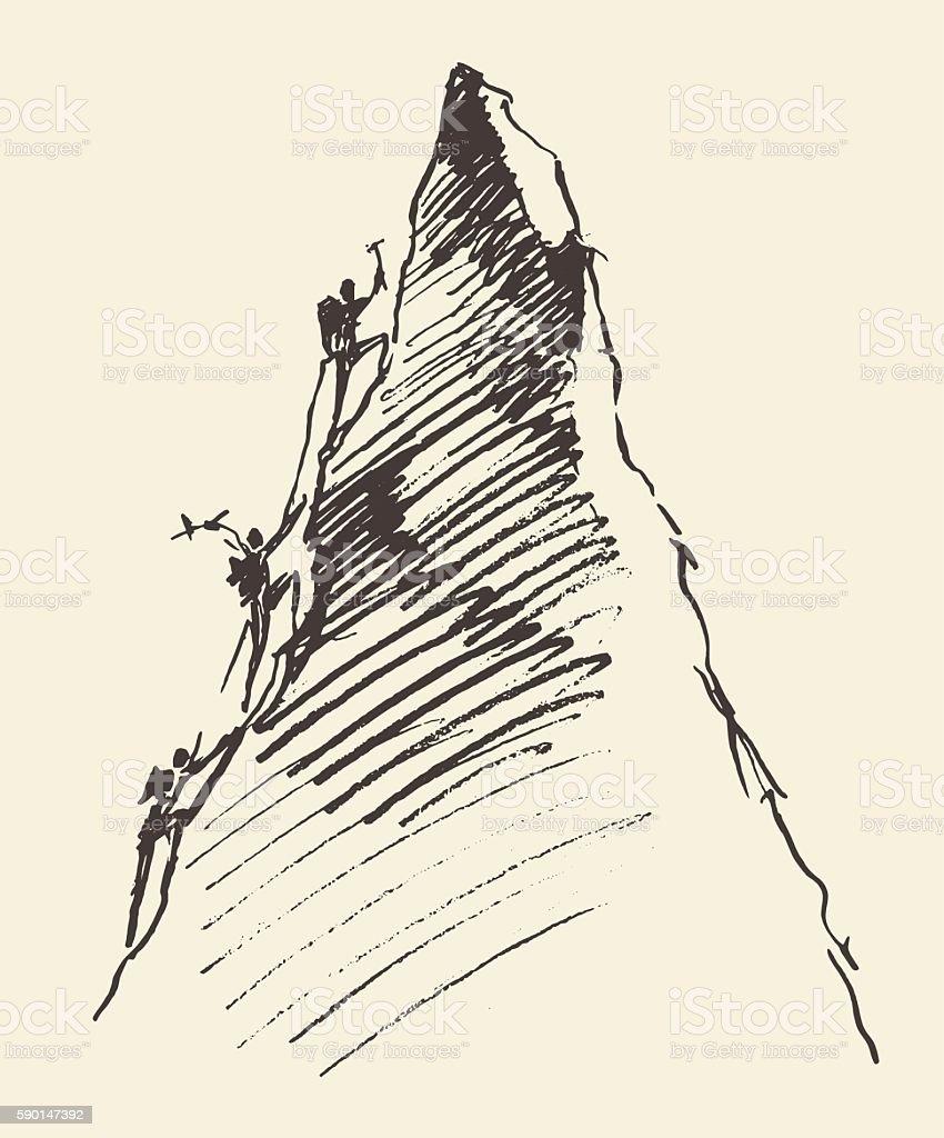 Sketch people climbing mountain peak vector. - Illustration vectorielle