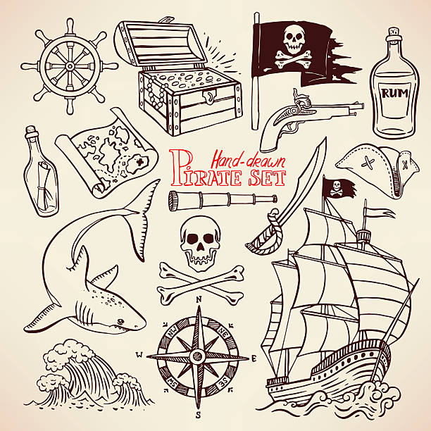 sketch pirate set sketch pirate set. collection of hand-drawn pirate paraphernalia. pirate flag, ship, navigation attributes seyahat noktaları illustrationsları stock illustrations