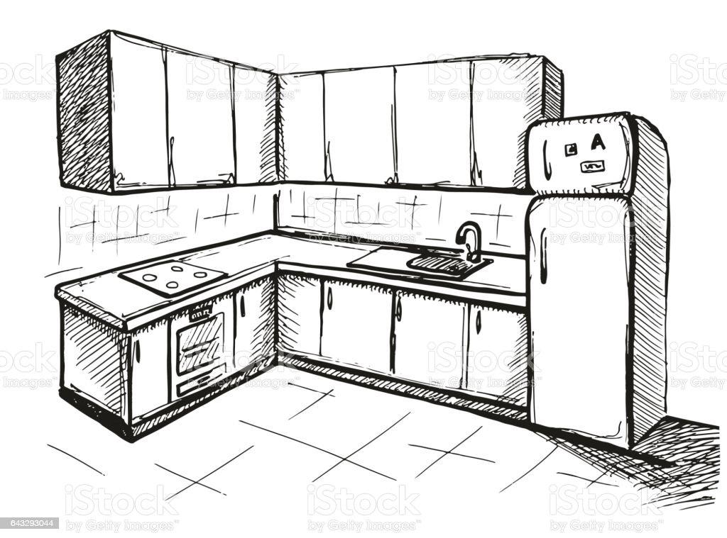 Sketch Plan Kitchen Vector Illustration Stock Illustration Download Image Now Istock