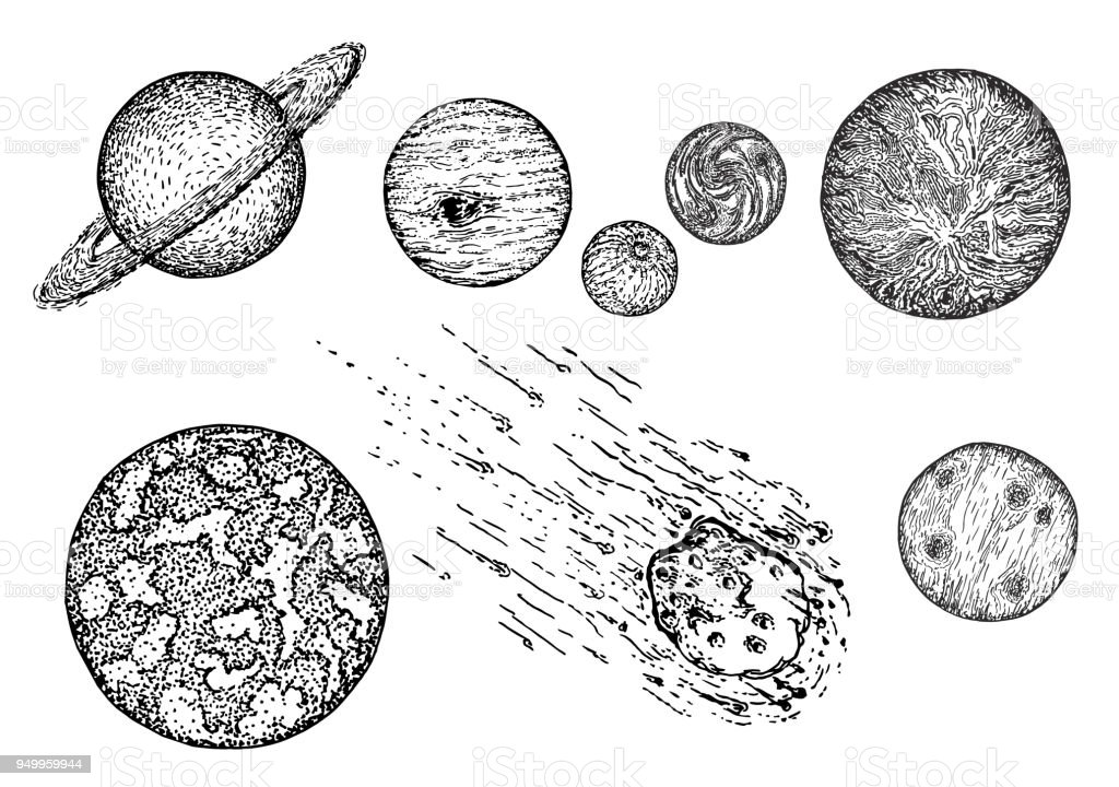 Sketch planet icon set, vector ink hand drawn illustration vector art illustration