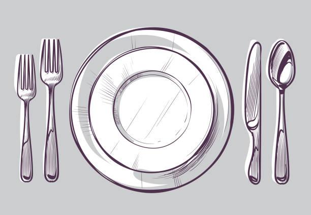 bildbanksillustrationer, clip art samt tecknat material och ikoner med skiss platta gaffel och kniv. middag bestick och tomma skålen på bordet, matsal silverbestick topp visa handritade doodle vektor illustration - empty plate
