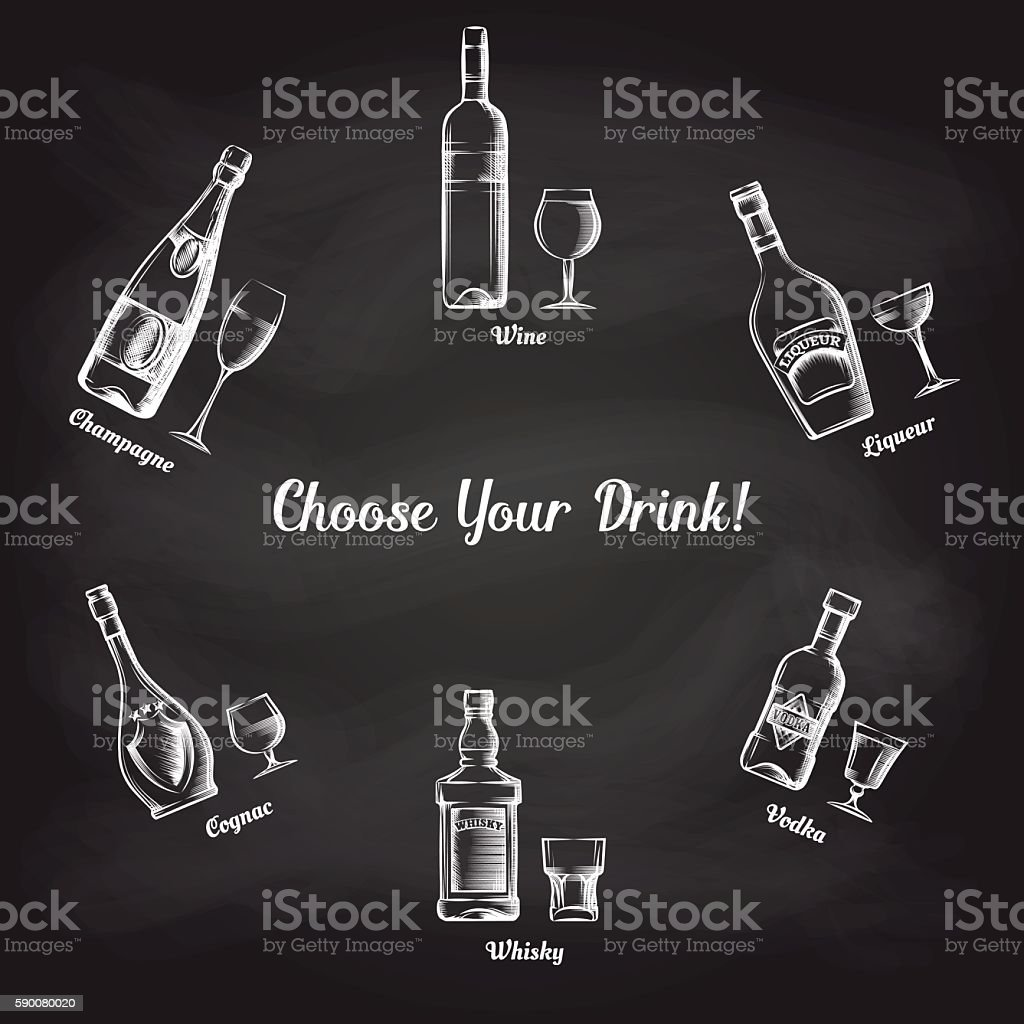 Sketch popular drinks on blackboard - Illustration vectorielle