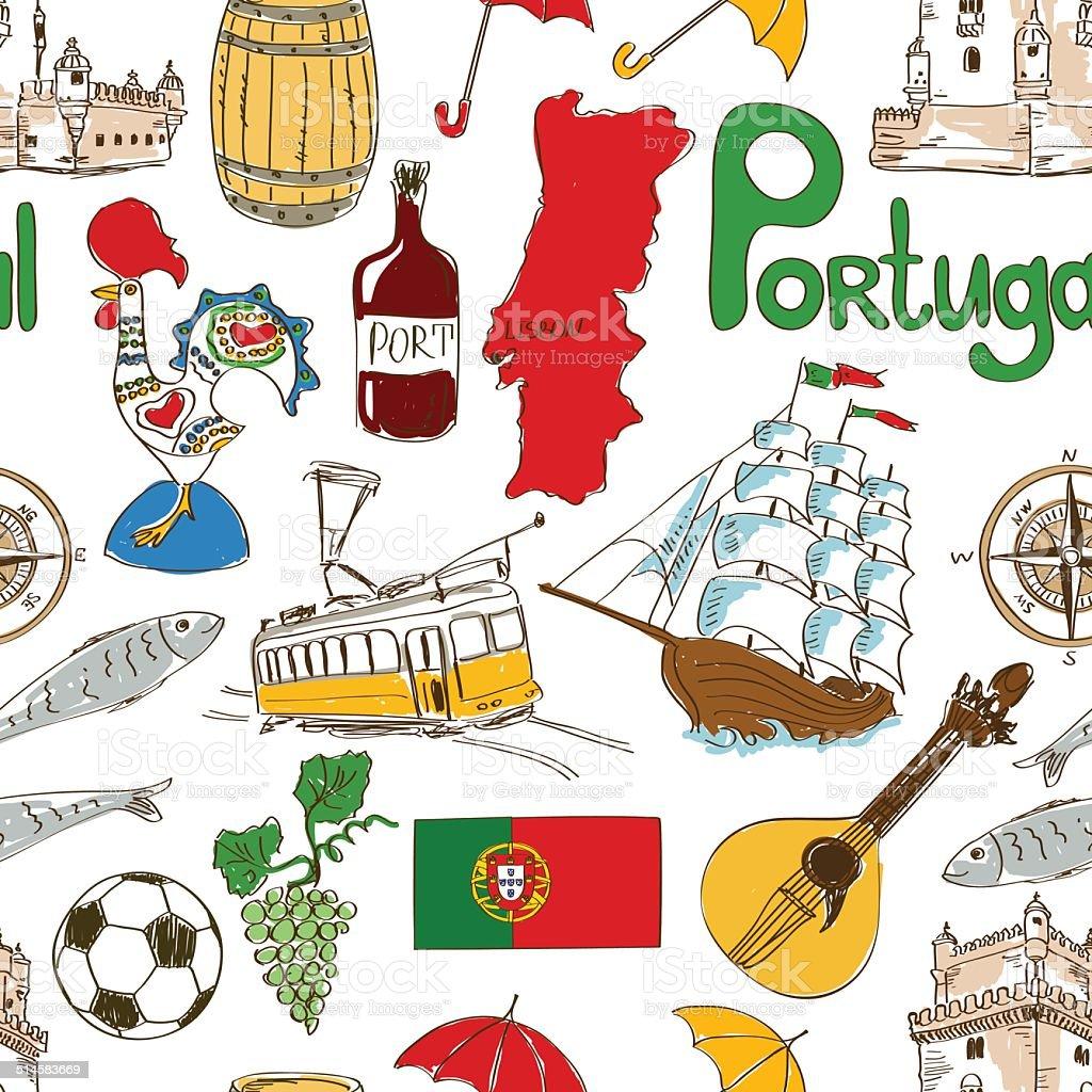 Sketch Portugal seamless pattern vector art illustration