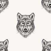 Sketch realistic face Wolf seamless pattern. Hand drawn vector  illustration in Doodle style. Engraving sketch for tattoos.