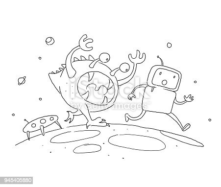 istock Sketch robot male character, an astronaut escapes runs from a monster on another planet. 404 error not page. Hand drawn black line vector illustration 945405880