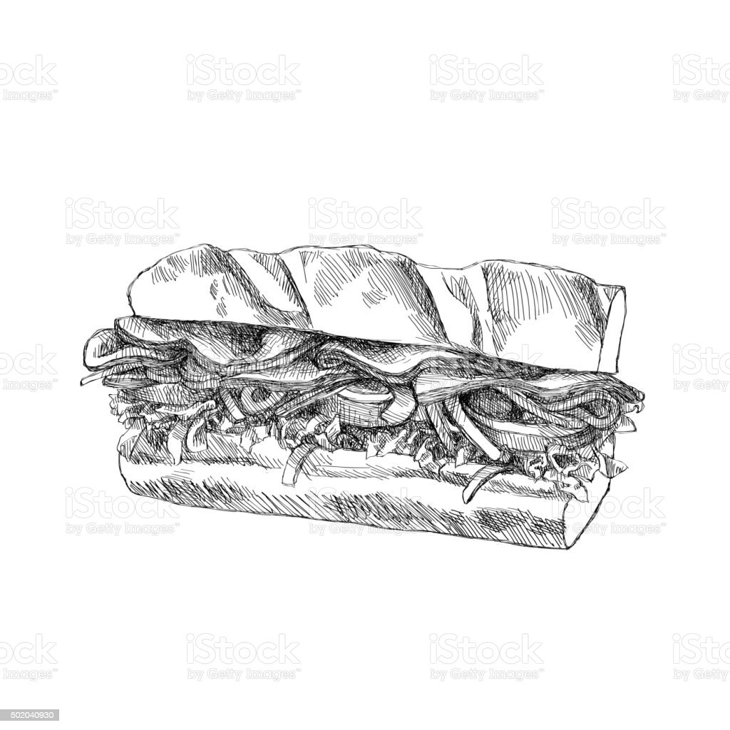 Croquis Sandwich - Illustration vectorielle