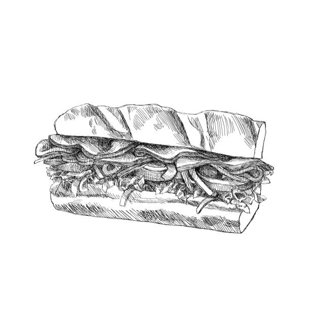 sketch sandwich - sub sandwich stock illustrations, clip art, cartoons, & icons