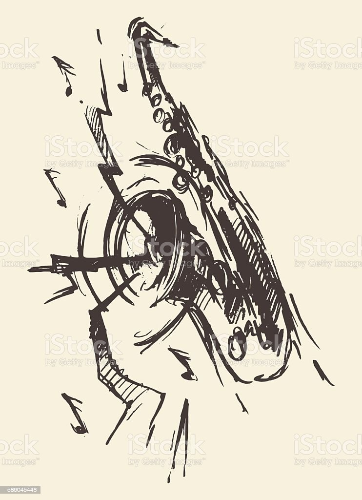 Sketch saxophone jazz retro style drawn vector. vector art illustration
