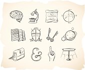 Hand drawn and sketched school icons for higher education.