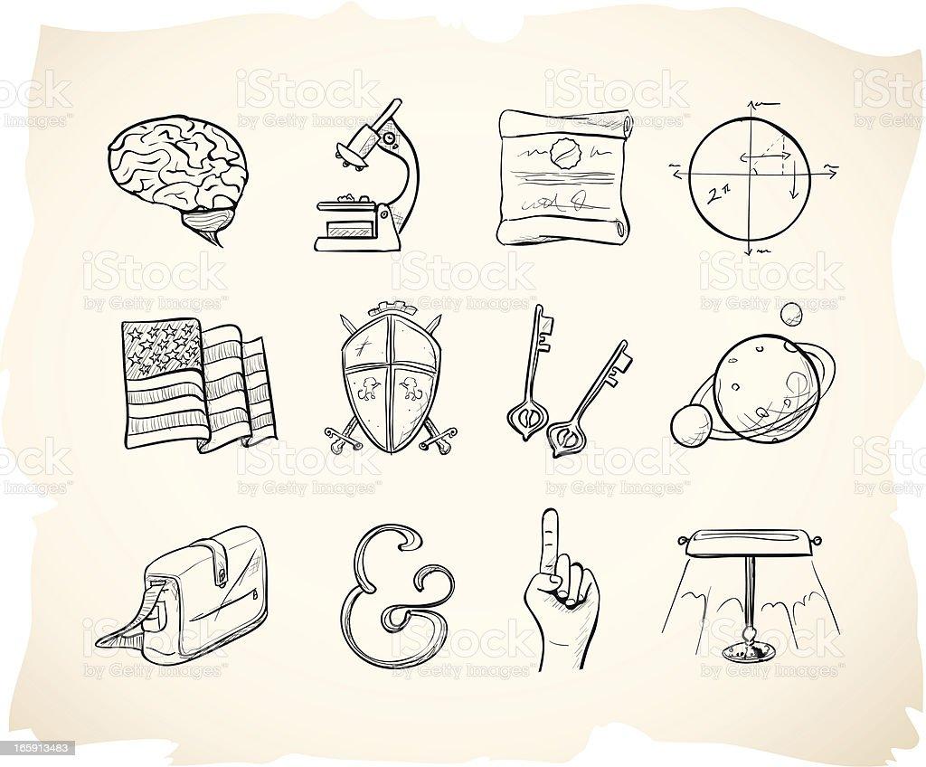 Sketch School Icons 2 vector art illustration