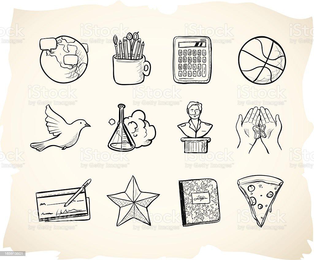 Sketch School Icons 3 royalty-free stock vector art