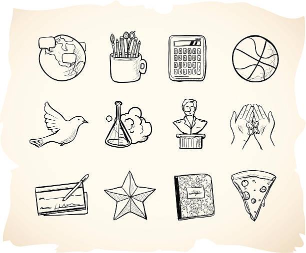 skizze der schule-icons 3 - hauswirtschaft stock-grafiken, -clipart, -cartoons und -symbole