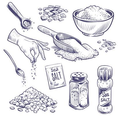 Sketch sea salt. Hand drawn spice, seasoning packaging. Glass bottles with salt powder, salting crystals vintage engraved vector set