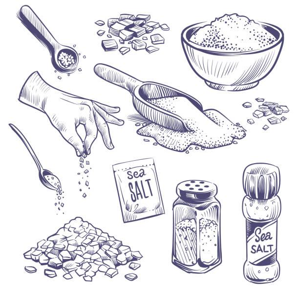 ilustraciones, imágenes clip art, dibujos animados e iconos de stock de esbozar sal marina. especia dibujada a mano, envases de condimento. botellas de vidrio con polvo de sal, cristales de salazón conjunto vectorial grabado vintage - salado