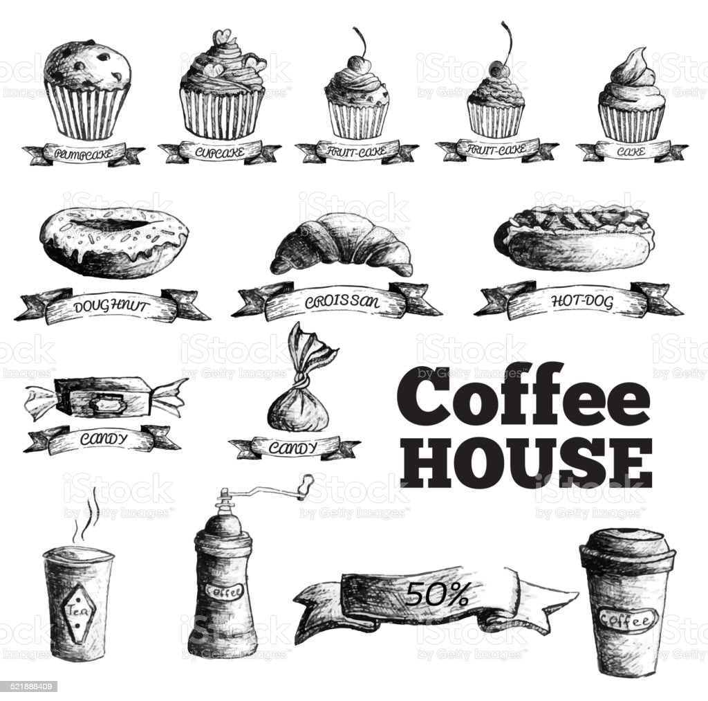 Sketch set drawn stylized hand painted background. cofee house menu vector art illustration