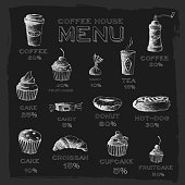 Sketch set drawn stylized hand painted background. cofee house menu