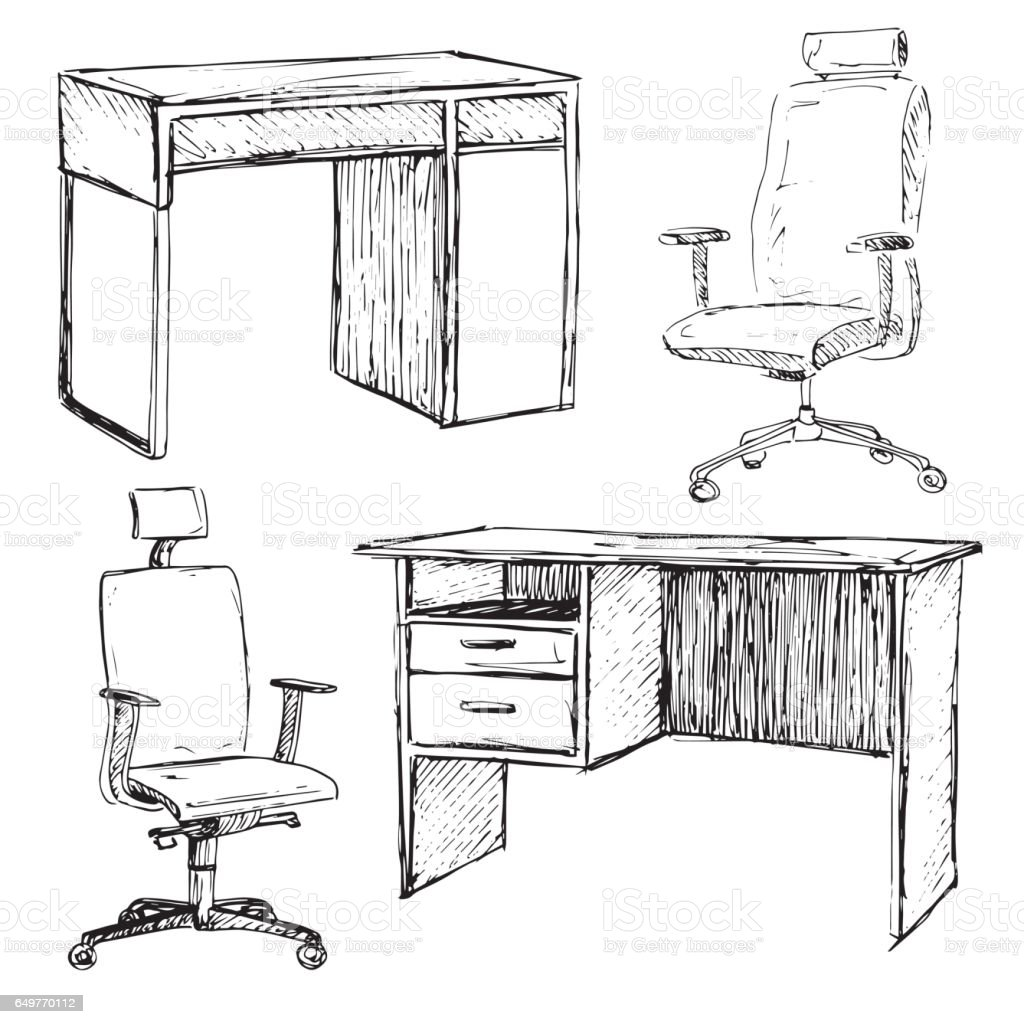 Sketch Set Isolated Furniture Different Office Chairs And Desks Linear Black On A
