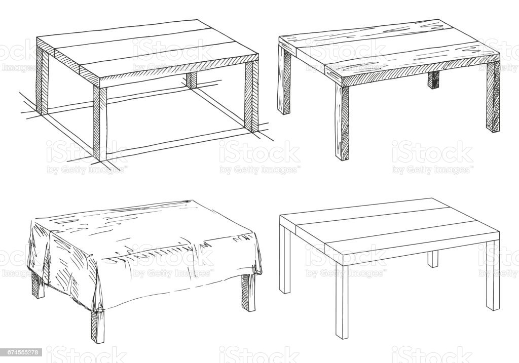 Sketch set isolated furniture different tables linear for Mueble para computadora