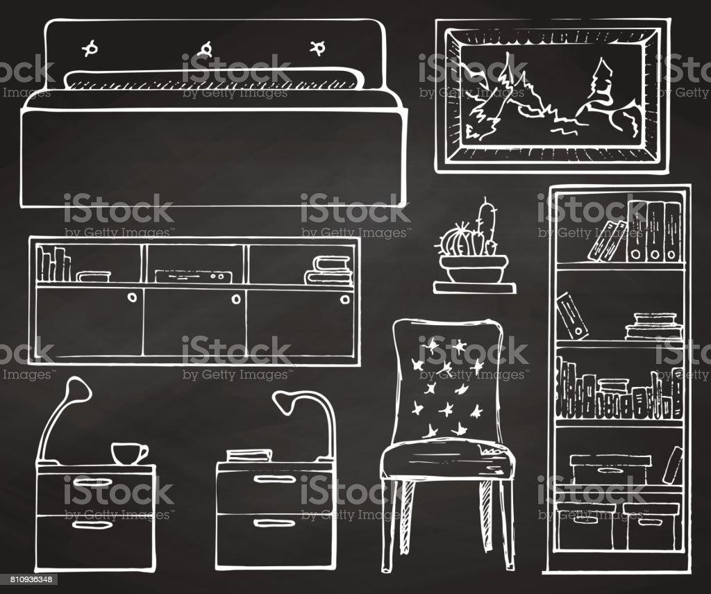 Boceto Conjunto Muebles Aislados Tiza De Dibujado A Mano Sobre Una  # Muebles Pizarra