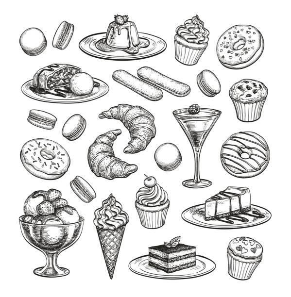 szkic zestaw deserów. - ciasto stock illustrations