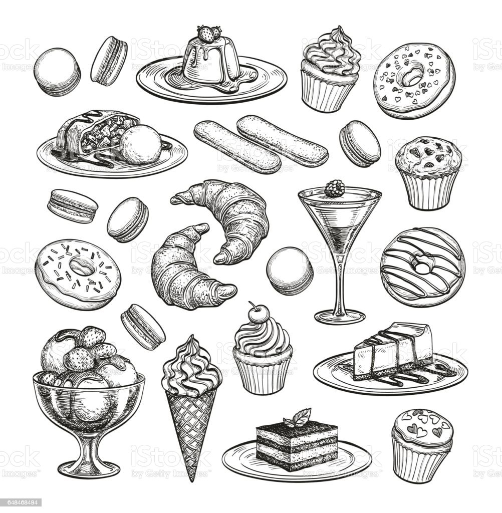 Skizze-Satz von Dessert. – Vektorgrafik