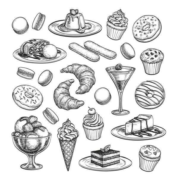 Sketch set of dessert. Sketch set of dessert. Pastry sweets collection isolated on white background. Hand drawn vector illustration. Retro style. cake drawings stock illustrations