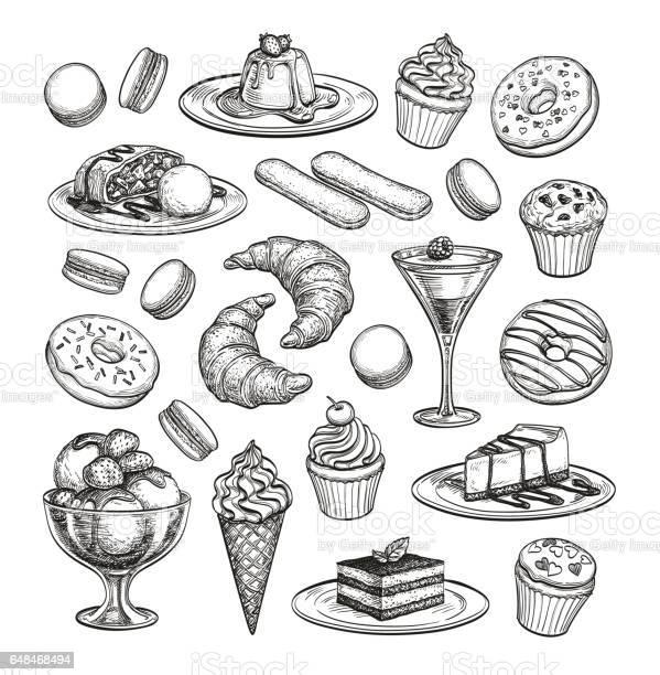 Sketch Set Of Dessert - Arte vetorial de stock e mais imagens de Arte