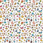 Sketch set of drawings in child style. Doodle children background. Seamless pattern for cute little girls and boys. Vector illustration