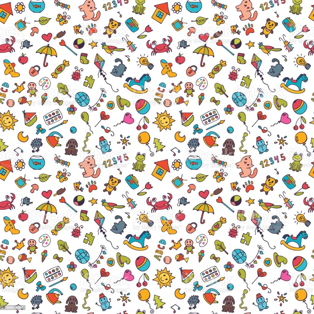 Esboço um conjunto de desenhos no estilo de criança. Fundo de crianças Doodle. Padrão sem emenda para bonito pequeno meninas e meninos - ilustração de arte em vetor