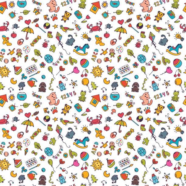 stockillustraties, clipart, cartoons en iconen met schets set van tekeningen in de onderliggende stijl. doodle kinderen achtergrond. naadloze patroon voor leuke kleine meisjes en jongens - baby toy