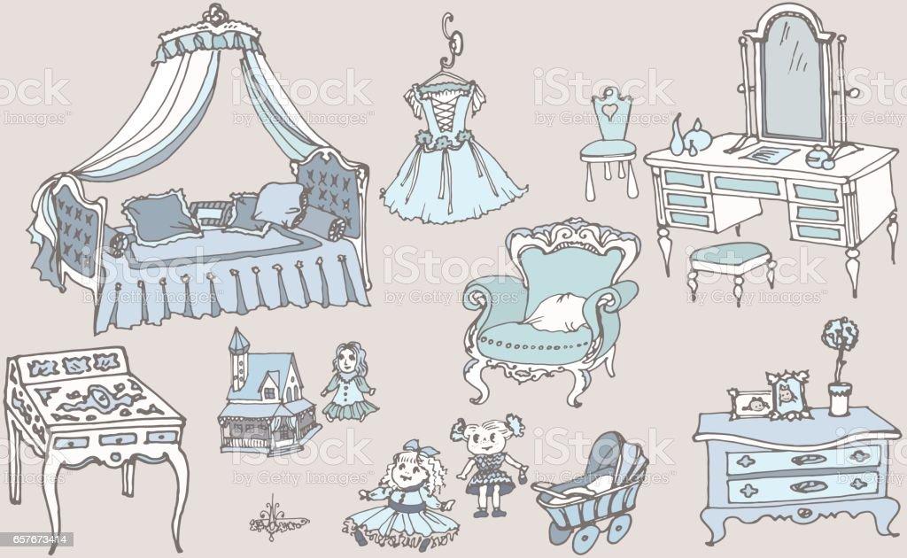 sketch, set of furniture and toys for the girls room blue color - ilustração de arte vetorial