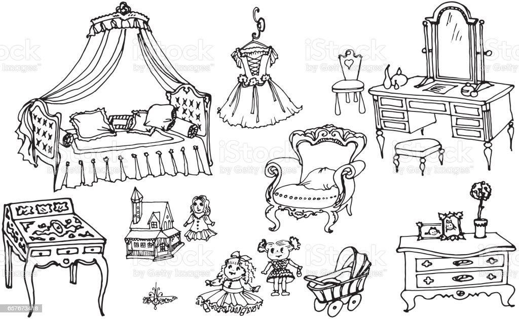 sketch, set of furniture and toys for the girls room - ilustração de arte vetorial