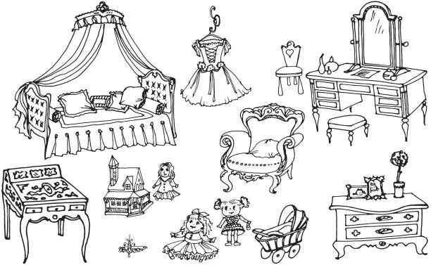 sketch, set of furniture and toys for the girls room sketch, set of furniture and toys for the girls room dollhouse stock illustrations