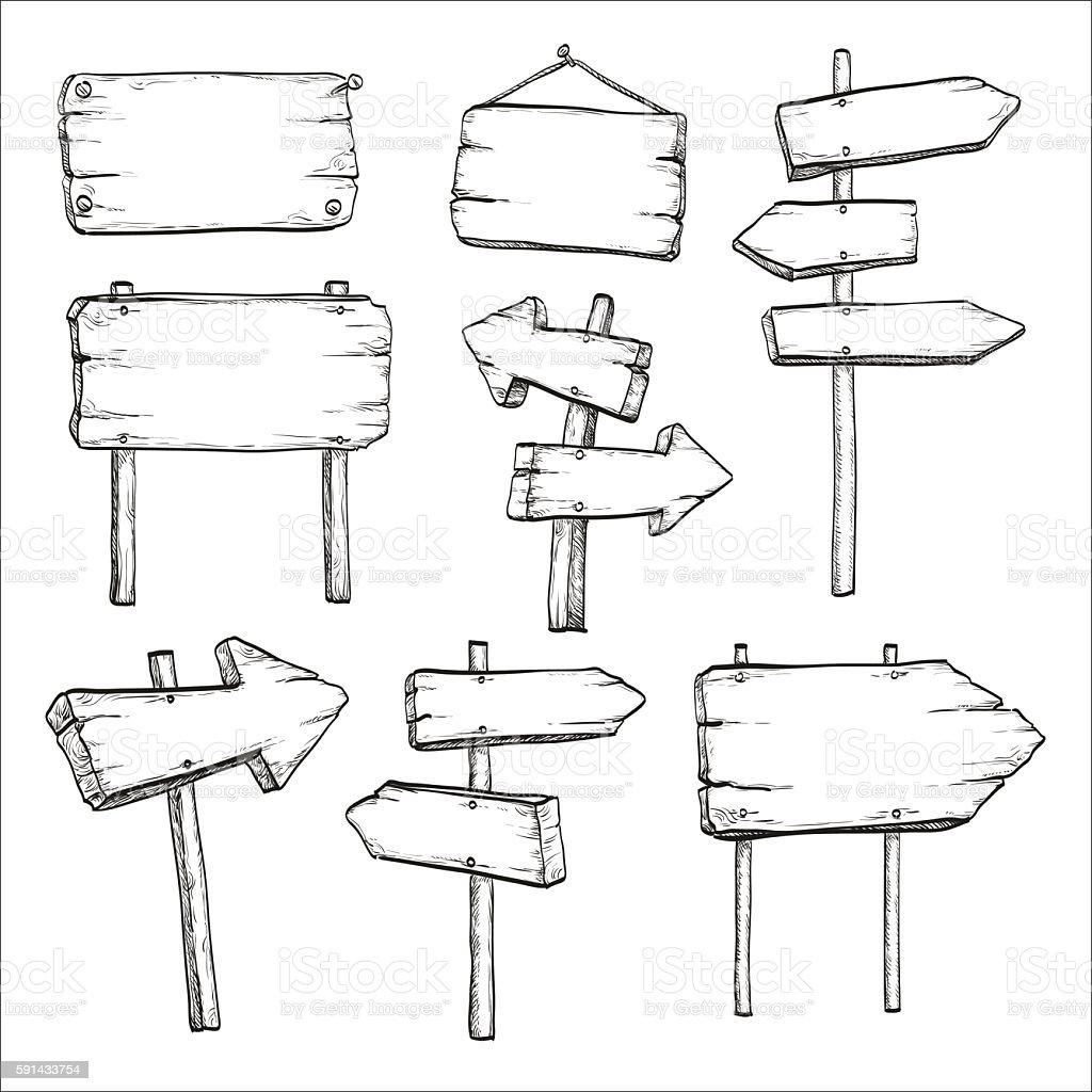 Sketch set of signposts and signboards. vector art illustration