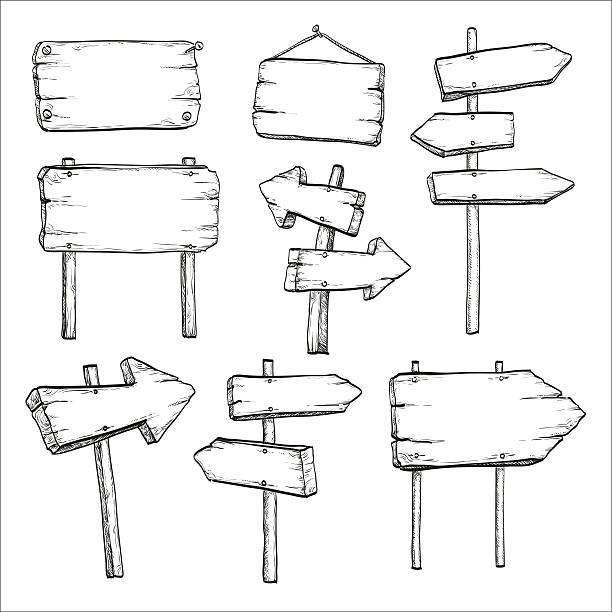 ilustraciones, imágenes clip art, dibujos animados e iconos de stock de sketch set of signposts and signboards. - marcos de garabatos y dibujados a mano