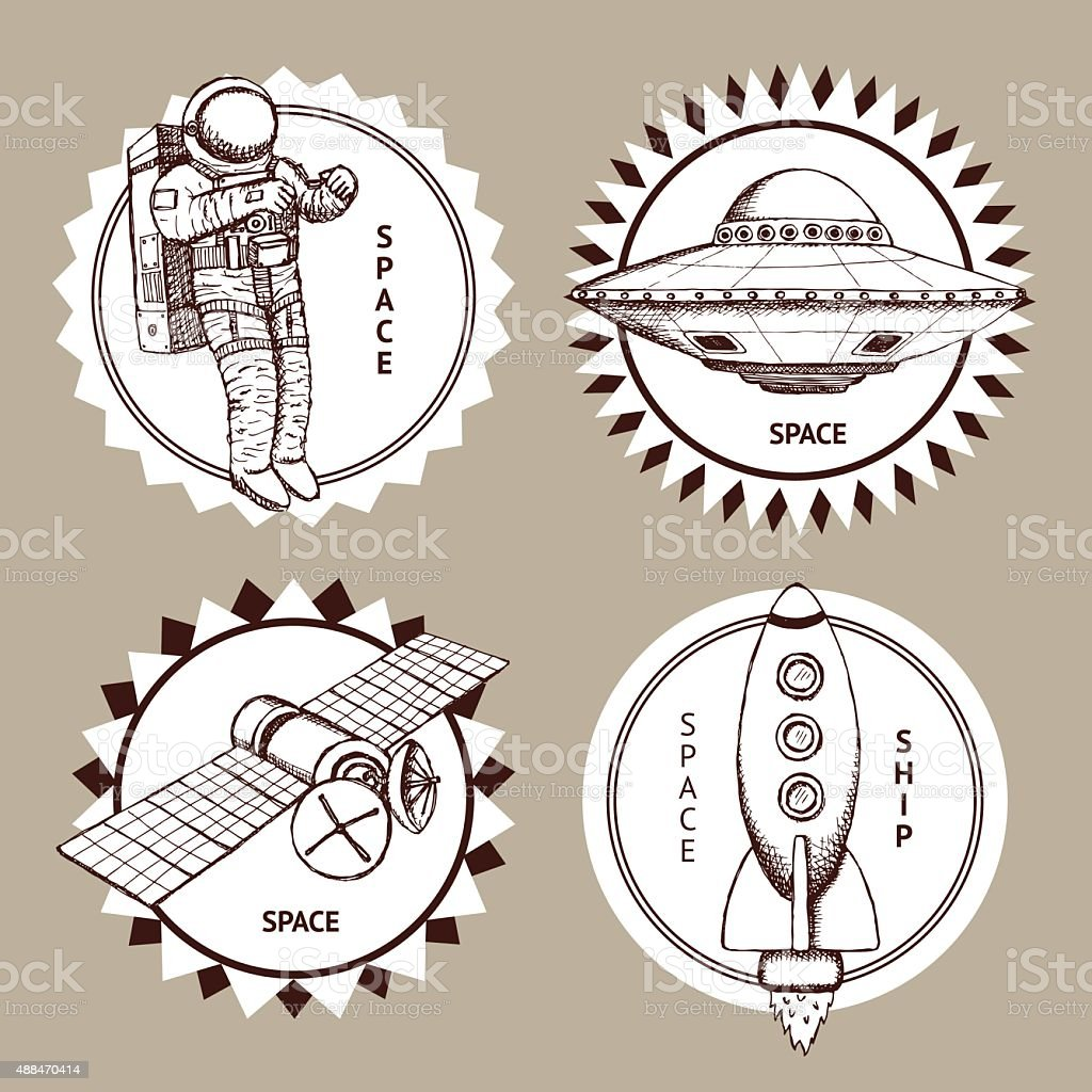 Sketch set of space logotypes in vintage style, vector