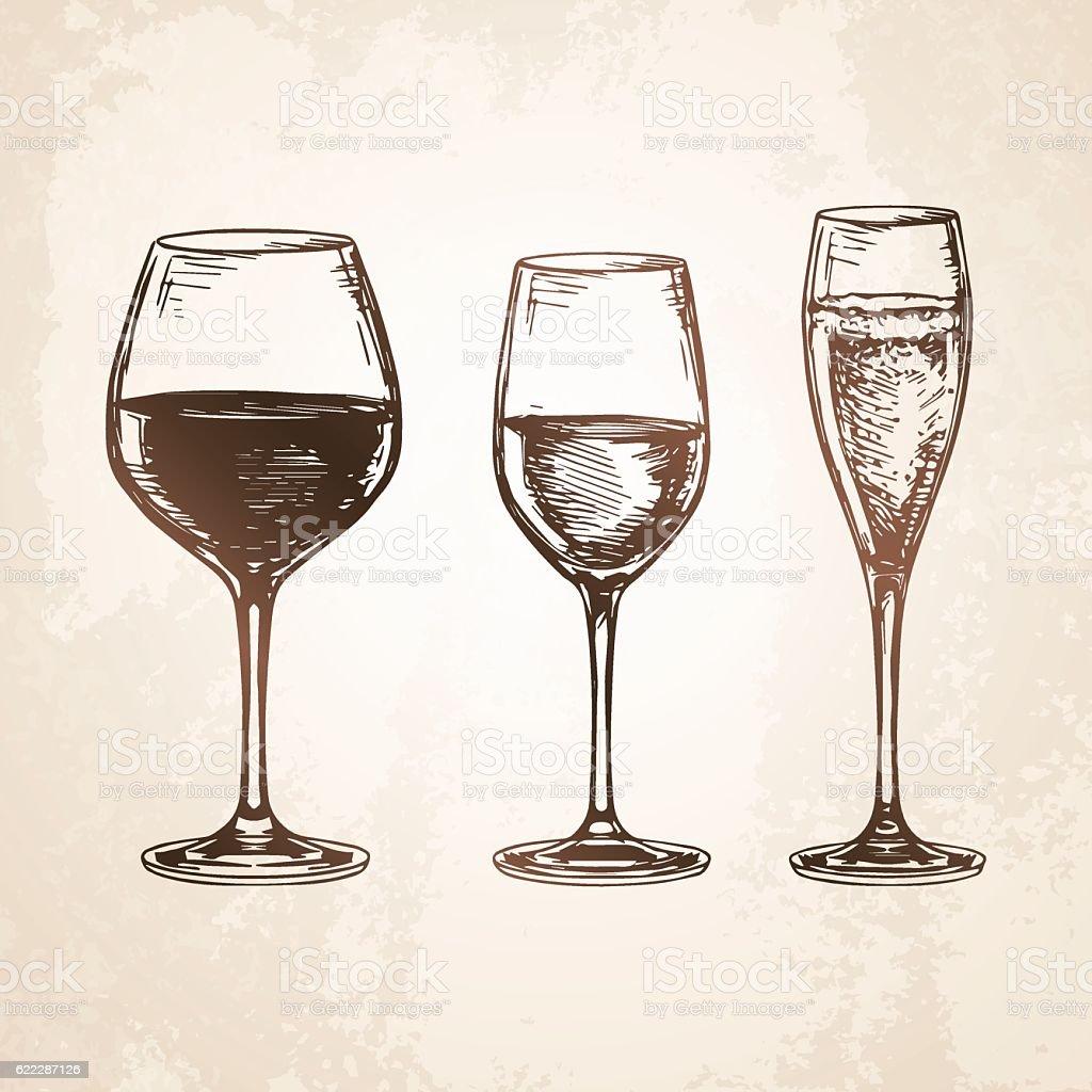Sketch set of wineglasses. vector art illustration