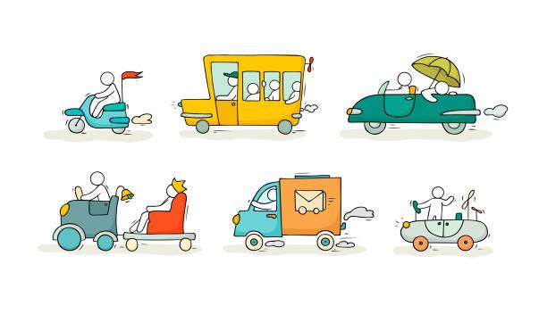 bildbanksillustrationer, clip art samt tecknat material och ikoner med skiss set med söta bilar och människor - parad