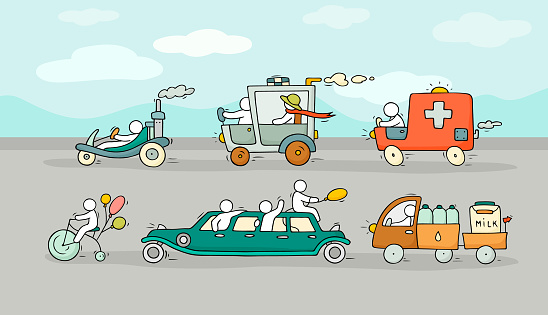 Sketch set with cute cars and people