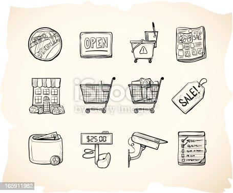Icons in hand drawn sketch style for store theme