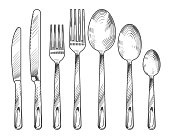 Sketch silver knife, fork and spoon. Hand drawn cutlery vector set