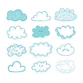 Sketch sky. Doodle collection of hand drawn clouds. Vector illustration