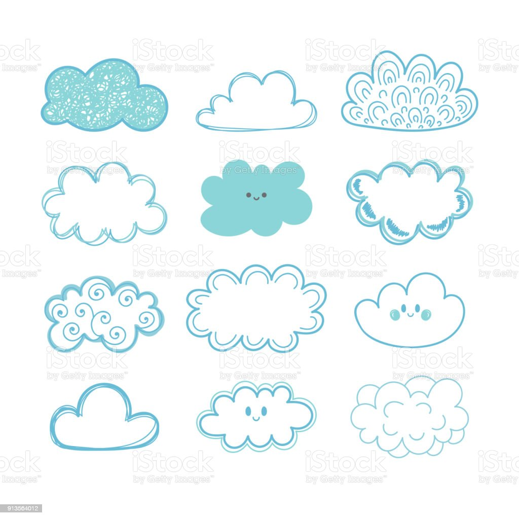 Sketch sky. Doodle collection of hand drawn clouds vector art illustration