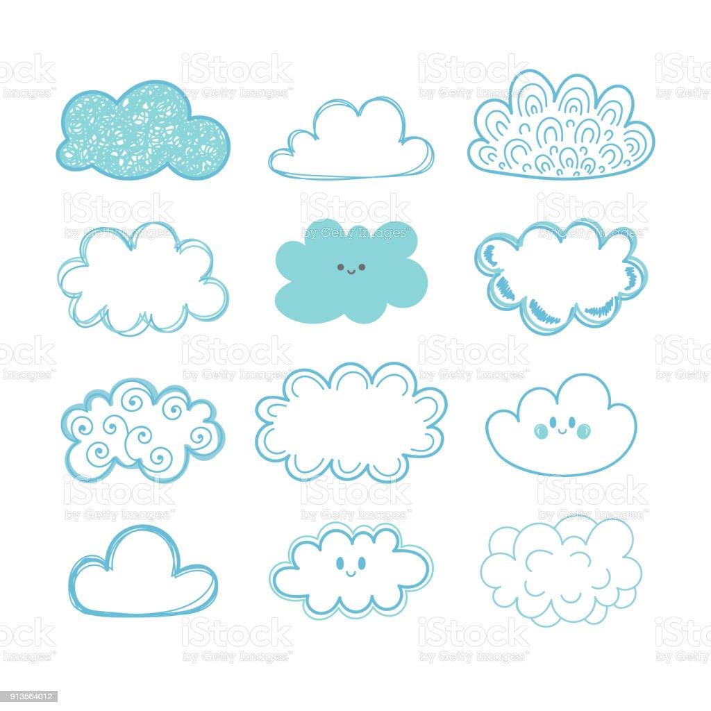 Croquis de ciel. Doodle collection de nuages dessinés à la main - Illustration vectorielle
