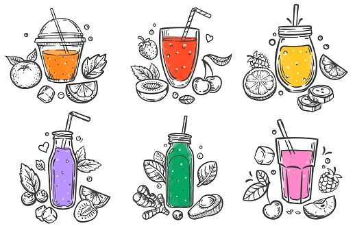 Sketch smoothie. Healthy superfood, glass of fruit and berries smoothies and slised natural fruits hand drawn vector illustration set