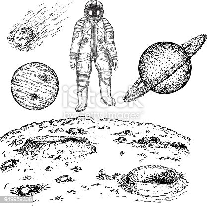 Sketch astronaut and planet icon set. Vector ink hand drawn illustration isolated on white background.